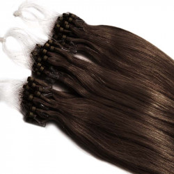 Micro loop extensions 100 % human hair n°4 (chocolate) 24 Inch