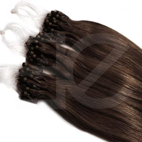 Micro loop extensions 100 % human hair n°4 (chocolate) 24 Inch