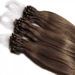 Micro loop extensions 100 % human hair n°8 (CHESTNUT) 24 Inch