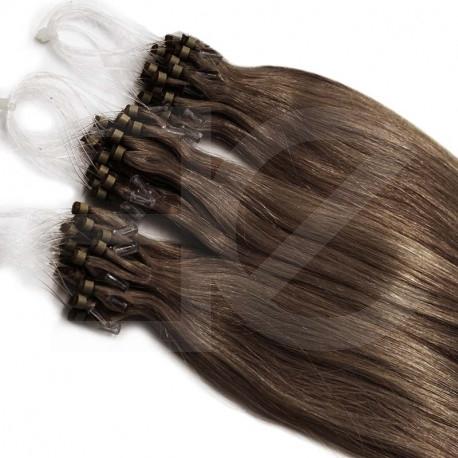 Micro loop extensions 100 % human hair n°8 (CHESTNUT) 24 Inch