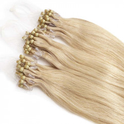 Micro loop extensions 100 % human hair n°613 (light blonde) 24 Inch