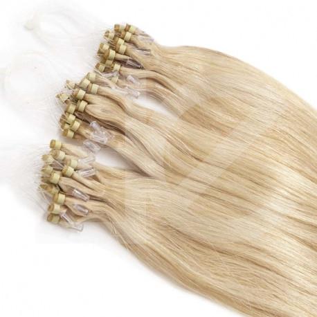 Micro loop extensions 100 % human hair n°613 (light blonde) 24 Inch