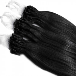 Micro loop extensions 100 % human hair n°1 (black) 18 Inch 085 Gr