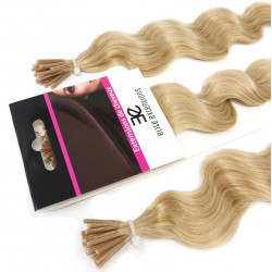 Micro ring hair extensions light blonde curly 24""