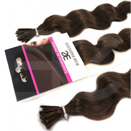 Micro ring hair extensions chocolate curly 24""