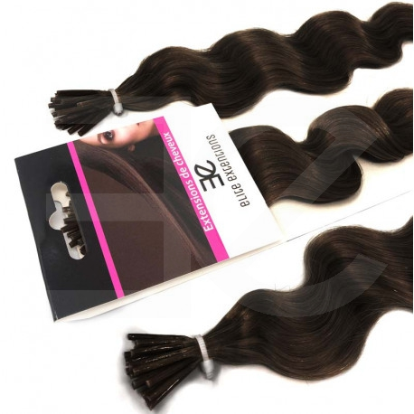 Micro ring hair extensions dark brown curly 24""