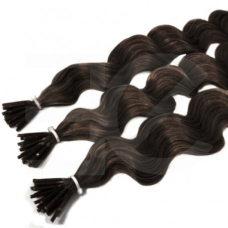 Extensions n 2 (dark chestnut) 100% natural hair cold attachment 50 cm curly