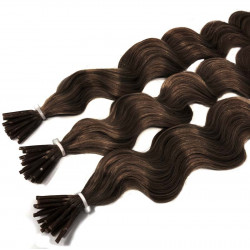 Micro ring hair extensions curly n4 (Chocolate) 100% natural hair STICK TIP 18 Inch