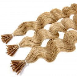 Micro ring hair extensions blonde curly 18""