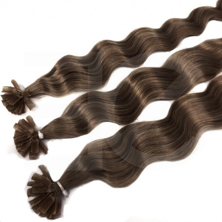 Extensions n 8 (chestnut) 100% natural hair hot fusion 50 cm curly