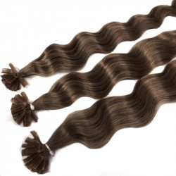 Extensions n 4 (chocolate) 100% natural hair hot fusion 63 cm curly