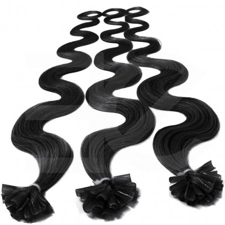 Extensions n 1 (black) 100% natural hair hot fusion 50 cm curly