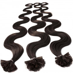 Pre bonded hair extensions dark brown wavy 18""