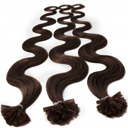 Extensions n 4 (chocolate) 100% natural hair hot fusion 50 cm curly