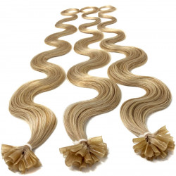 Extensions n 24 (ash blonde) 100% natural hair hot fusion 50 cm curly
