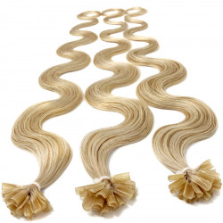 Pre bonded hair extensions light blonde wavy 18""