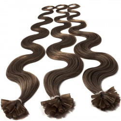 Pre bonded hair extensions chestnut wavy 24""