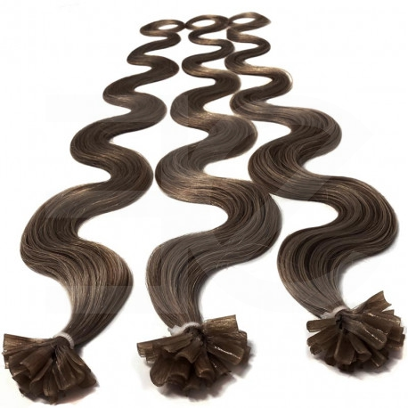 Extensions n 8 (chestnut) 100% natural hair hot fusion 63 cm curly