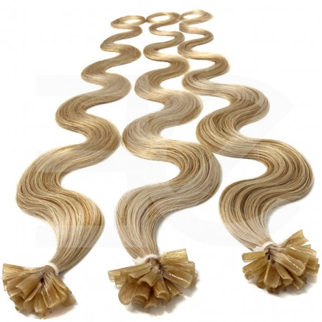 Pre bonded hair extensions ash blonde wavy 24""
