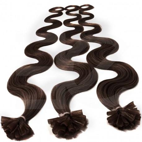 Pre bonded hair extensions 100 % human hair n°4 (chocolate) wavy 24 Inch