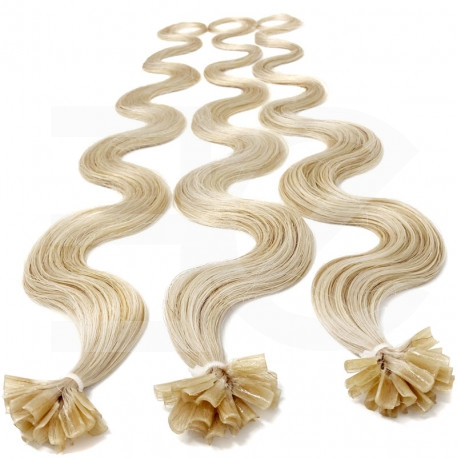 "Pre bonded hair extensions platinum blonde wavy 24"""