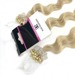 Micro loop hair extensions light blonde curly 24""
