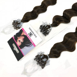 Micro loop hair extensions curly n°2 (DARK CHESTNUT) 24 Inch