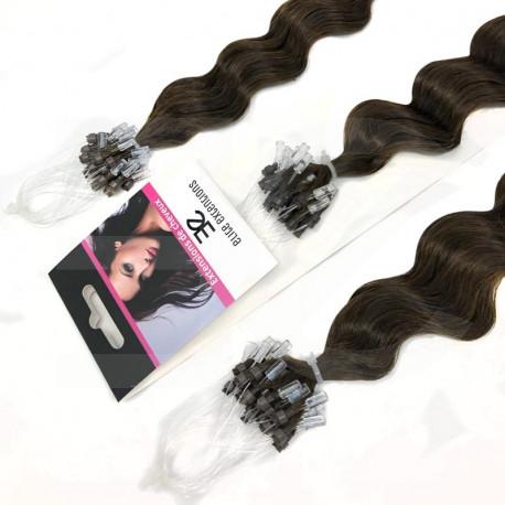 Micro loop hair extensions curly n°2 (DARK CHESTNUT) 24 Inch