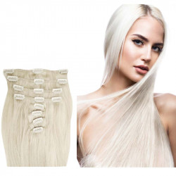 Clip in hair extensions platinum blonde 24 inch
