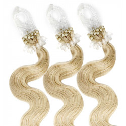 Micro loop hair extensions light blonde wavy 24""