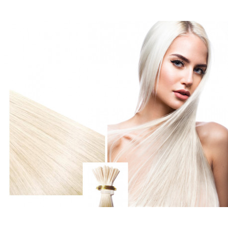 """Micro ring hair extensions platinum blonde straight 18"""""""