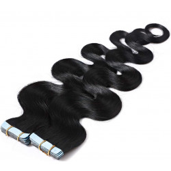 "Tape in hair extensions jet black wavy 18"""