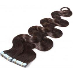 """Tape in hair extensions dark brown wavy 18"""""""