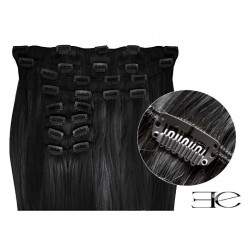 SYNTHETIC CLIP IN HAIR EXTENSIONS BLACK 18 INCH