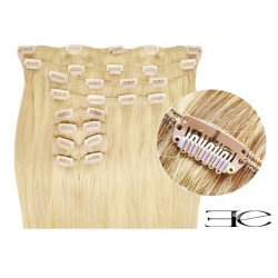 Synthetic clip in hair extensions LIGHT BLONDE extra volume 18 inch