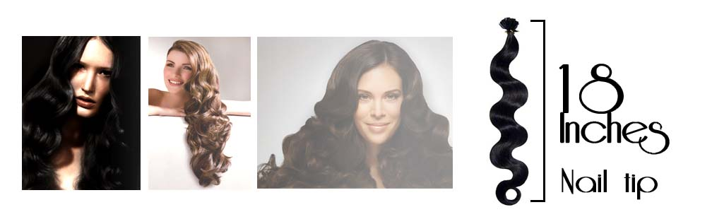 Pre bonded hair extensions wavy 18 Inch