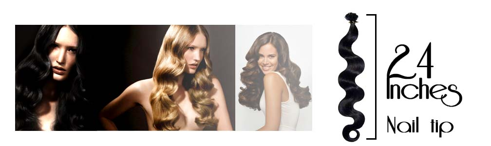 Pre bonded hair extensions wavy 24 Inch
