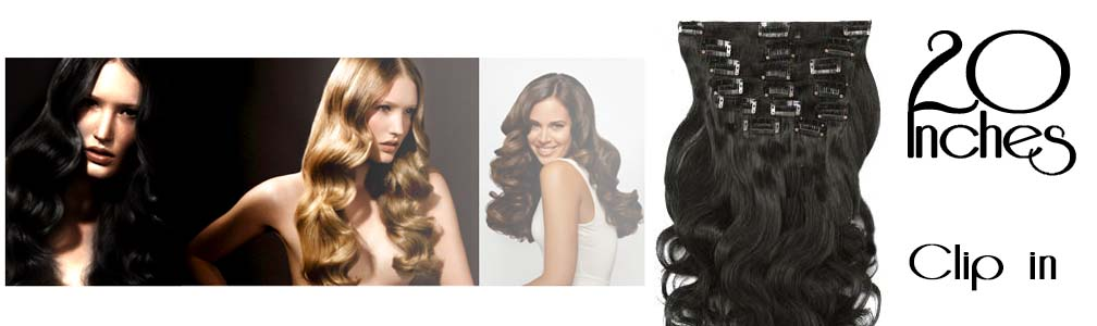 Clip in hair extensions wavy 20 Inch