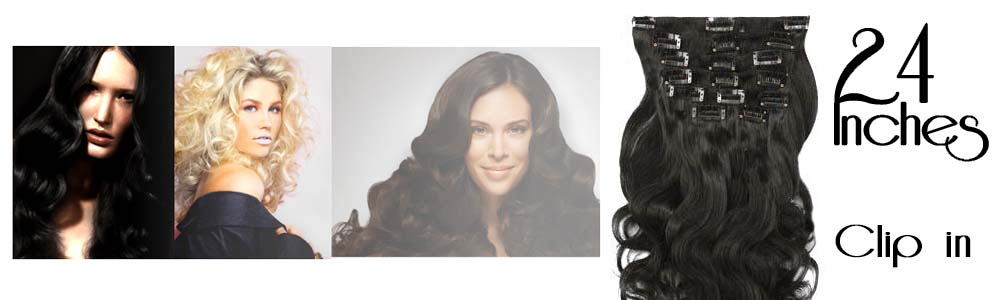 Clip in hair extensions wavy 24 Inch