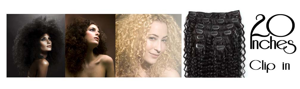 Clip in hair extensions curly 20 Inch