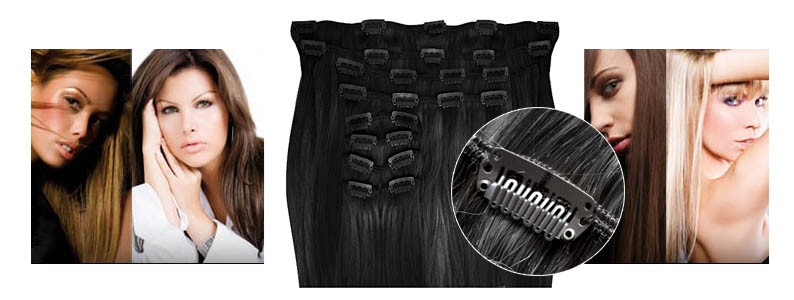 Clip in hair extensions synthetic straight