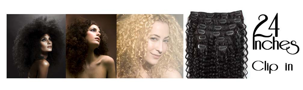 Clip in hair extensions curly  24 inch